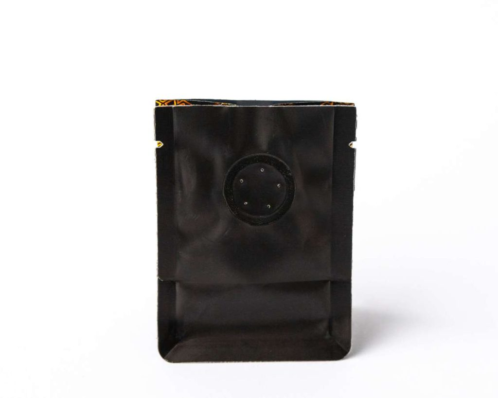 Small black coffee bag with degassing valve