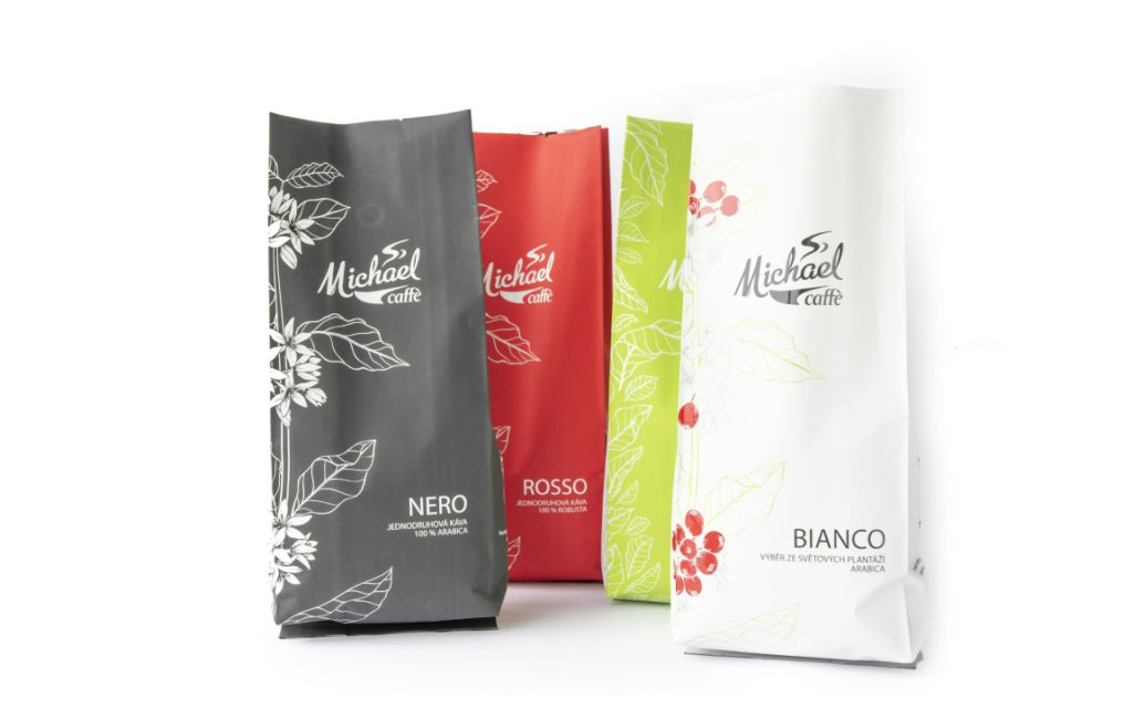 multicoloured coffee packaging