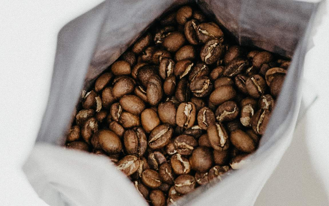 whole bean coffee in a bag
