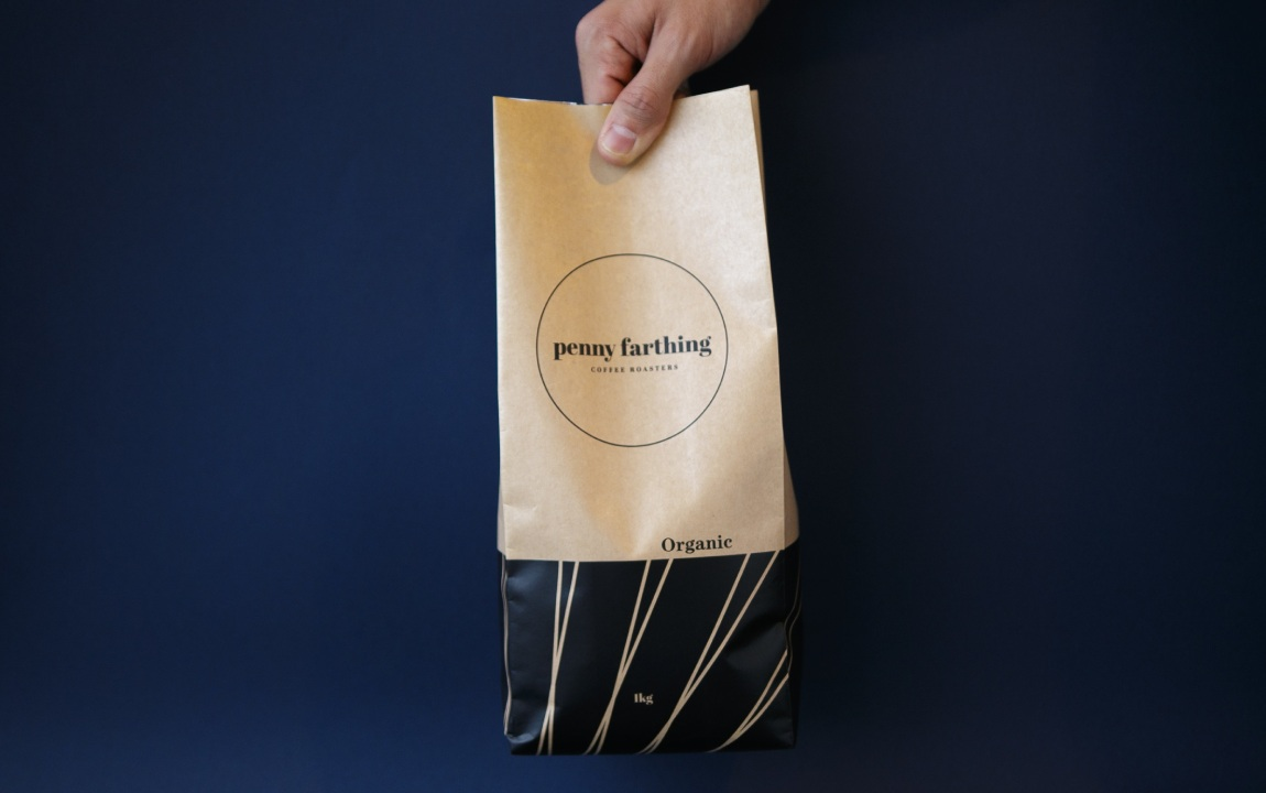 penny farthing coffee kraft paper pouch