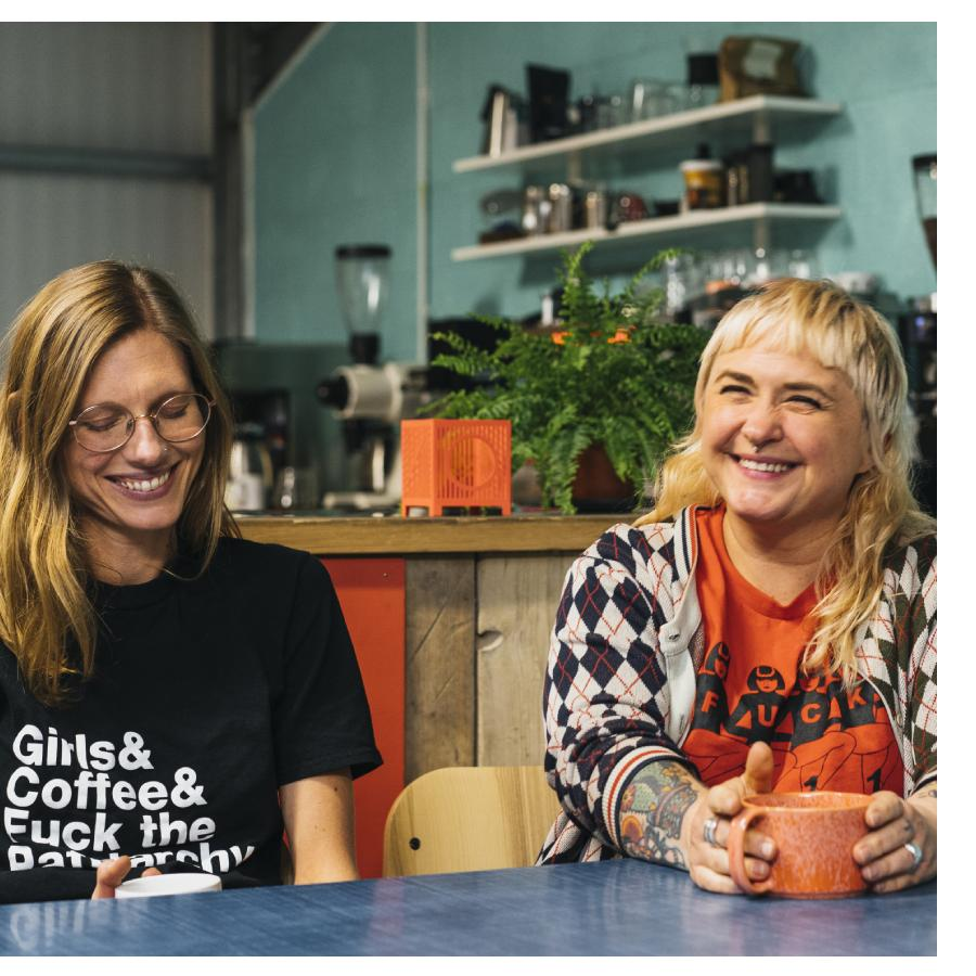 casey and fi, owners of girls who grind coffee