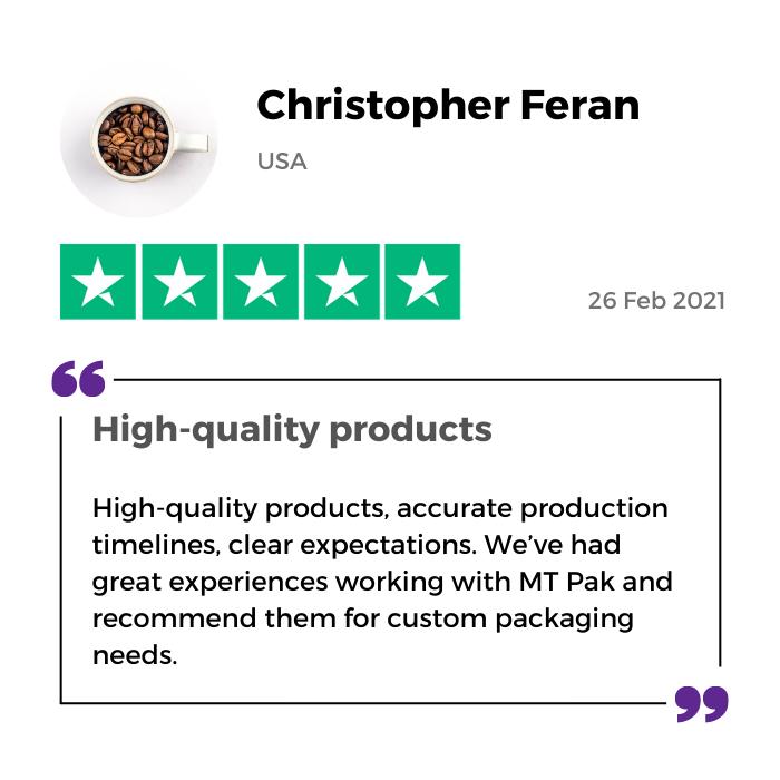 Christopher Feran review of MTPak Coffee on Trustpilot