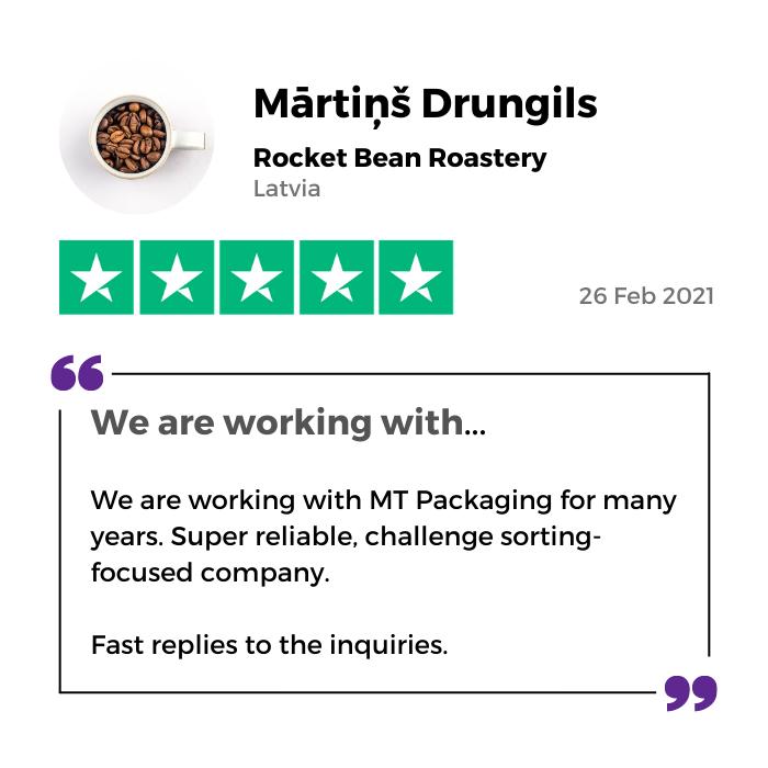 Rocket Bean Roastery review of MTPak Coffee on Trustpilot